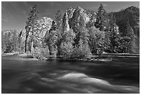 Kings River and trees in the spring, Cedar Grove. Kings Canyon National Park ( black and white)