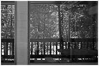 South Forks of the Kings River, Cedar Grove Lodge window reflexion. Kings Canyon National Park ( black and white)