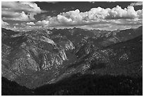 Cedar Grove Valley view and clouds. Kings Canyon National Park ( black and white)