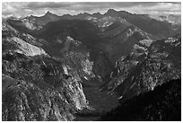 Glacial valley from above, Cedar Grove. Kings Canyon National Park ( black and white)