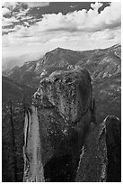 Outcrops and canyon of the Kings river. Kings Canyon National Park ( black and white)