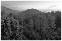 Redwood Canyon from above, sunset. Kings Canyon National Park ( black and white)