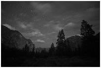 Cedar Grove valley at night. Kings Canyon National Park ( black and white)
