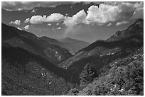 South Forks of the Kings River valley. Kings Canyon National Park ( black and white)