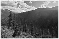 Cedar Grove valley seen from North Rim. Kings Canyon National Park ( black and white)