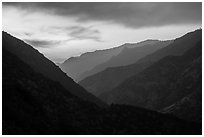 Cedar Grove Valley at sunset. Kings Canyon National Park ( black and white)