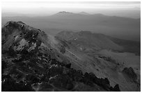 Summit of Lassen Peak with volcanic formations, sunset. Lassen Volcanic National Park ( black and white)