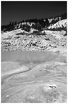 Thermal pool in Bumpass Hell thermal area. Lassen Volcanic National Park, California, USA. (black and white)