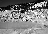 Turquoise pool in Bumpass Hell thermal area. Lassen Volcanic National Park, California, USA. (black and white)