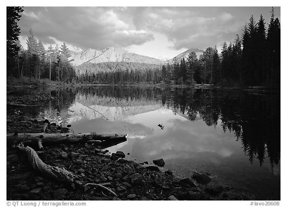 Reflection lake and Chaos Crags, sunset. Lassen Volcanic National Park (black and white)