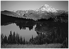 Eunice Lake seen from above with Mt Rainier behind, afternoon. Mount Rainier National Park, Washington, USA. (black and white)