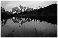 Mount Shuksan and Picture lake, sunset,  North Cascades National Park. Washington, USA. (black and white)