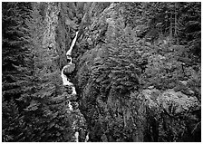 Gorge Creek falls in summer, North Cascades National Park Service Complex. Washington, USA. (black and white)