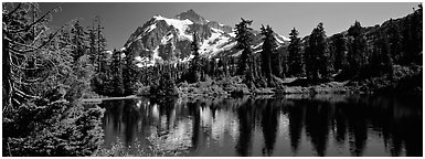 Mount Shuksan. North Cascades National Park (Panoramic black and white)