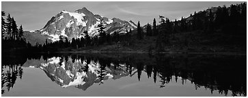 Lake with mountain reflection. North Cascades National Park (Panoramic black and white)