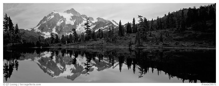 Miror reflection of Mount Shuksan.  (black and white)