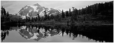 Miror reflection of Mount Shuksan. North Cascades National Park (Panoramic black and white)
