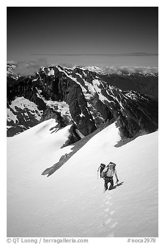 Ascending Sahale Peak,  North Cascades National Park.  (black and white)