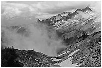 Mountains and clouds above South Fork of Cascade River, North Cascades National Park. Washington, USA. (black and white)