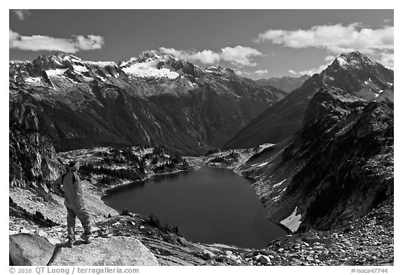 Visitor looking, Hidden Lake, North Cascades National Park.  (black and white)