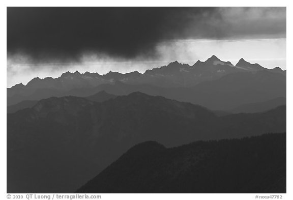 Storm clouds over layered ridges, North Cascades National Park.  (black and white)