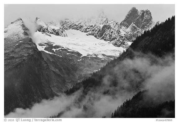Picket Range from Mt Terror to Inspiration Peak, North Cascades National Park.  (black and white)