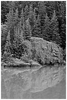 Trees and boulders reflected in Gorge Lake, North Cascades National Park Service Complex.  ( black and white)