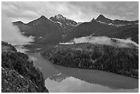 Colonial Peak and Pyramid Peak above Diablo Lake on rainy evening, North Cascades National Park Service Complex.  ( black and white)