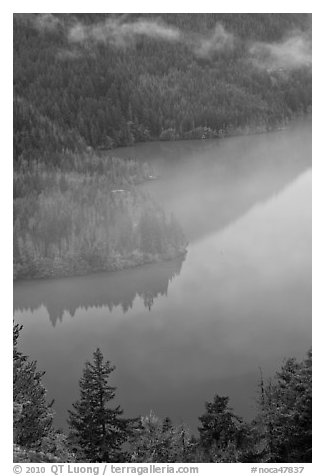 Turquoise waters and fog, Diablo Lake, North Cascades National Park Service Complex.  (black and white)