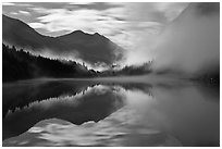 Moonlit fog, Diablo Lake, North Cascades National Park Service Complex. Washington, USA. (black and white)