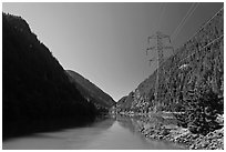Gorge Lake and power lines,  North Cascades National Park Service Complex. Washington, USA. (black and white)