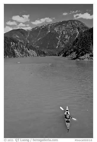 Kayaker on Diablo Lake,  North Cascades National Park Service Complex.  (black and white)