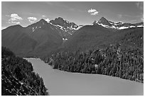 Diablo Lake with green waters, morning,  North Cascades National Park Service Complex.  ( black and white)
