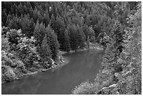 Emerald waters of Gorge Lake in autumn, North Cascades National Park Service Complex.  ( black and white)
