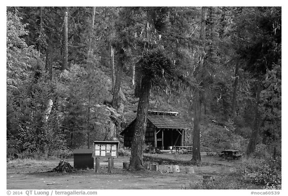 High Bridge campground, North Cascades National Park.  (black and white)