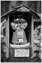 Bike through gumball dispenser, Stehekin, North Cascades National Park Service Complex.  ( black and white)