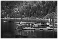 Floatplane on Lake Chelan, Stehekin, North Cascades National Park Service Complex.  ( black and white)