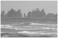 Waves and seastacks, Shi-Shi Beach. Olympic National Park ( black and white)
