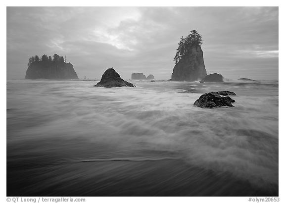 Seastacks, surf, and clouds, Second Beach. Olympic National Park (black and white)