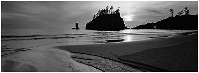 Stream and beach at sunset. Olympic National Park (Panoramic black and white)