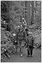 Family walking on forest trail. Olympic National Park ( black and white)
