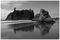 Sea stacks reflected on wet beach, Ruby Beach. Olympic National Park ( black and white)