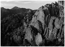 High Peaks with Chalone Peak in the distance, sunrise. Pinnacles National Park ( black and white)