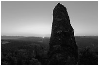 Rock pillar and setting sun. Pinnacles National Park ( black and white)