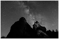 Night sky with Milky Way above High Peaks rocks. Pinnacles National Park ( black and white)