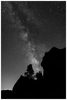 Rocks and pine trees profiled against starry sky with Milky Way. Pinnacles National Park ( black and white)