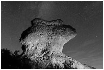 Anvil monolith at night. Pinnacles National Park ( black and white)