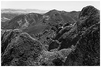 Gabilan Mountains landscape. Pinnacles National Park ( black and white)