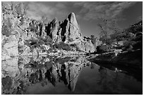 Spire and reflection in glassy water, Bear Gulch Reservoir. Pinnacles National Park, California, USA. (black and white)