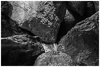 Jumble of rocks in talus cave. Pinnacles National Park ( black and white)